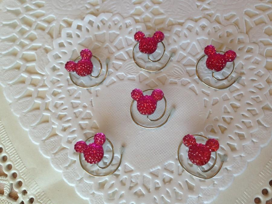 Свадьба - 6 Mickey Mouse Hair Swirls-Disney Flower Girl-Cinderella Gift- Hair Coils-Bright Pink Hidden Mickeys