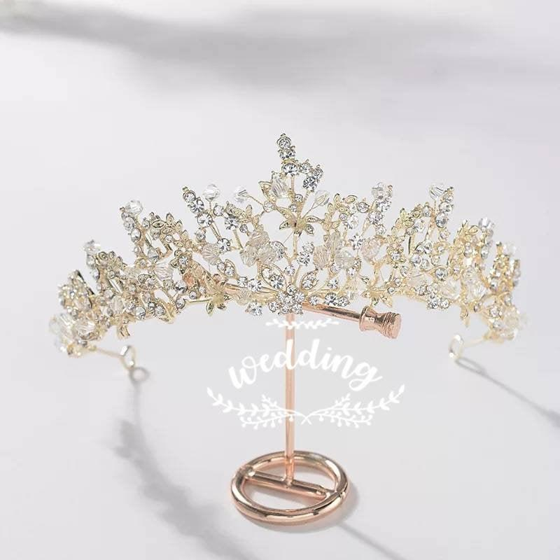 زفاف - Gold Wedding Tiara with Crystals-Brides Hair Accessories,Bridal Hair Jewellery-Wedding Crown-Tiaras for Brides-Prom Tiara-princess Crown