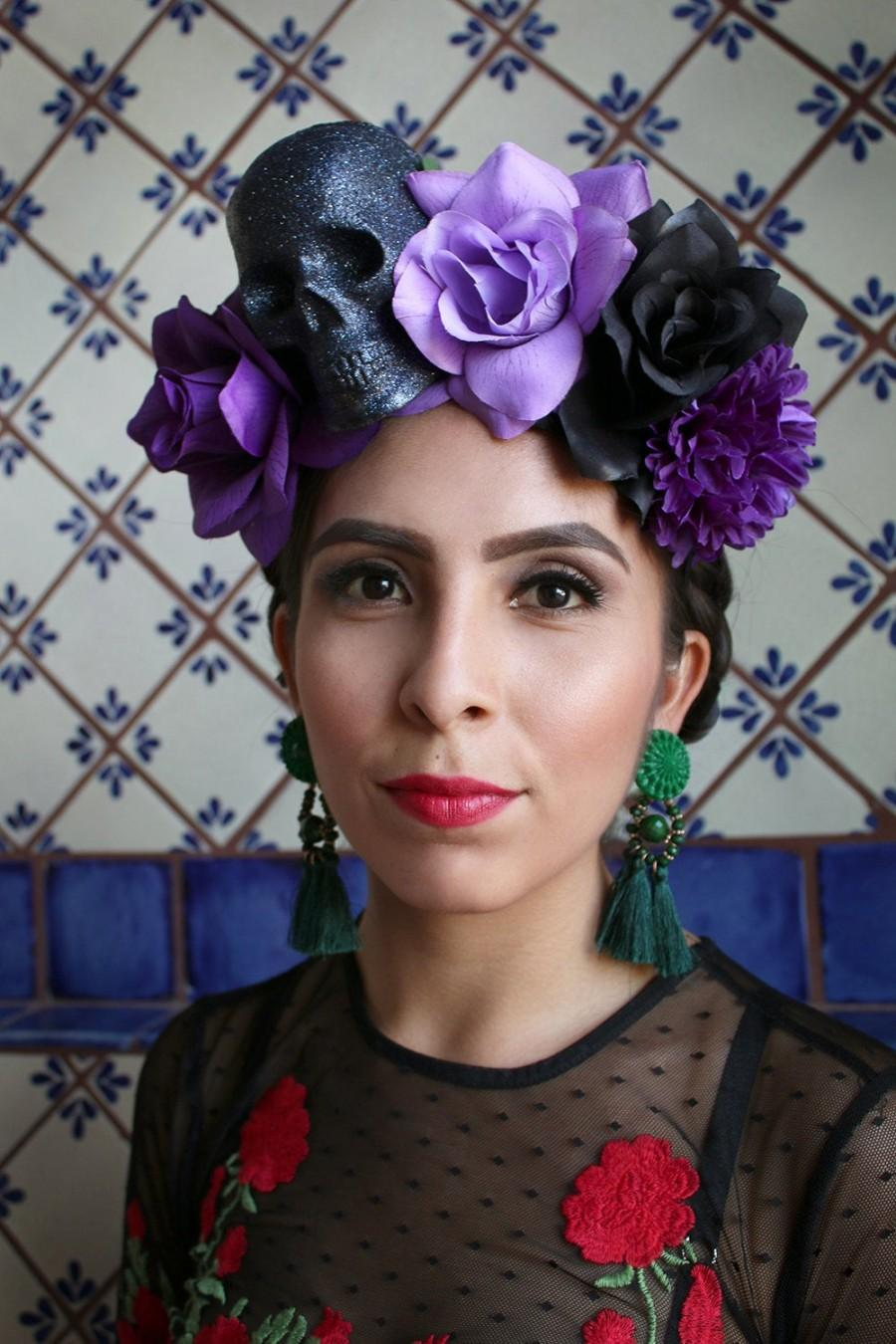 Свадьба - Purple Black Flower Crown Headband (Mexican Day of the Dead Costume Headpiece Sugar Skull Costume Goth Gothic Catrina Headdress Wreath Skull