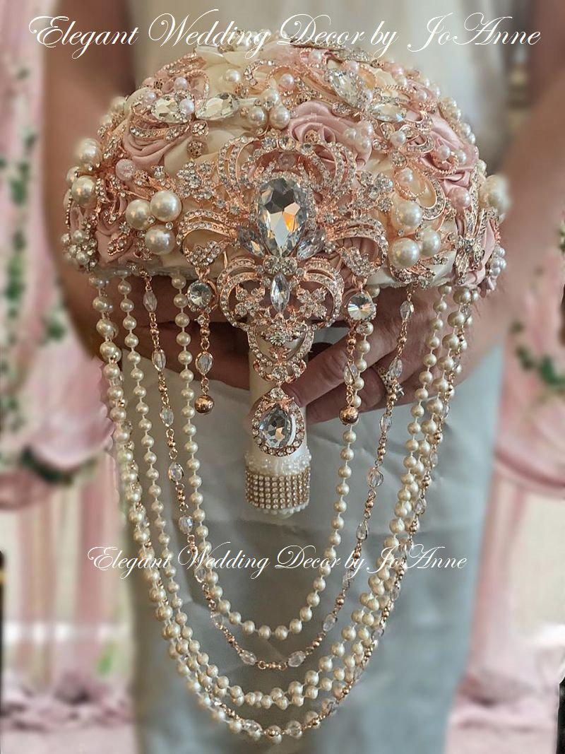 Свадьба - ROSE GOLD BOUQUET, Custom Cascade Rose Gold Bridal Brooch Bouquet, Brooch Bouquet, Ivory and Gold Bouquet, Rose Gold Wedding Bouquet