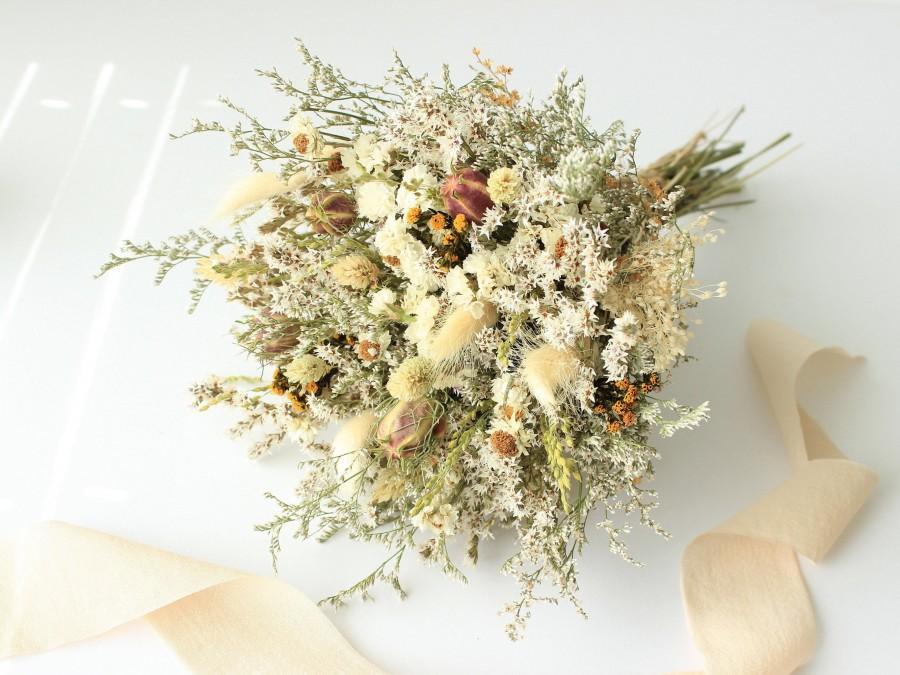 زفاف - Fall Dream Orange Dried Flowers Bouquet / Preserved Daisy German Statice Flowers Bouquet / Wedding Bridal Natural Grass Peach Bouquet