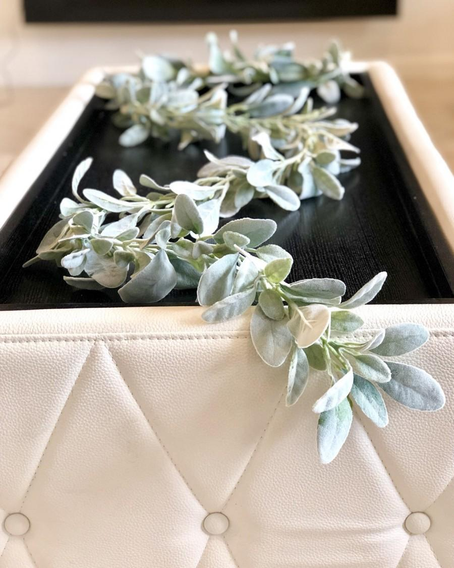 Свадьба - 6' Lambs Ear Garland, Artificial Lambs Ear Garland, Wedding Centerpiece, Lambs Ear Swag, Greenery Garland, Table Runner, Lambs Ear Garland
