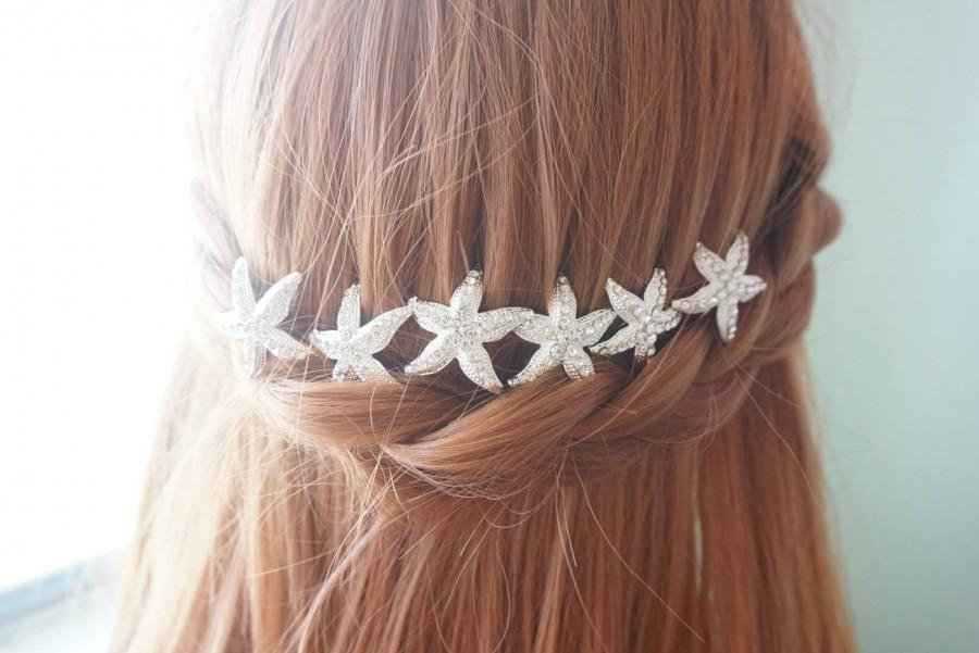 Mariage - Starfish silver wedding hair pin, bridal hair pins, starfish wedding, starfish hair accessories, silver wedding hair pin, beach Style HP0038