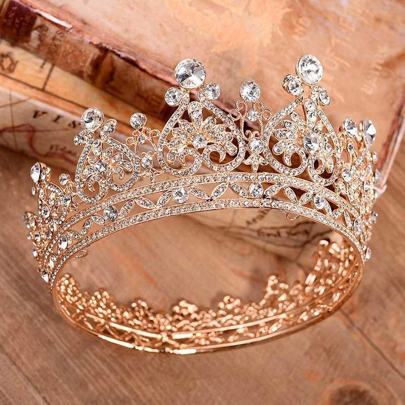 زفاف - BEPHORA Handmade Princess Jewelry Large Full Circle Rhinestones Queen Pageant Crown Bridal Hair Jewelry Wedding Dress Accessories,Gold tiara