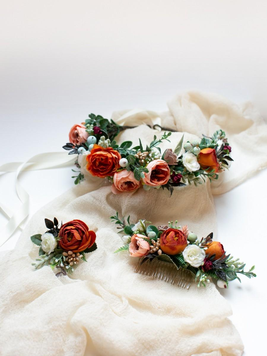 Mariage - Boho flower hairpiece, Burnt orange crown, Coral floral headpiece, Bridal flower crown, Fall wedding, Rustic wedding hairpiece, Orange crown