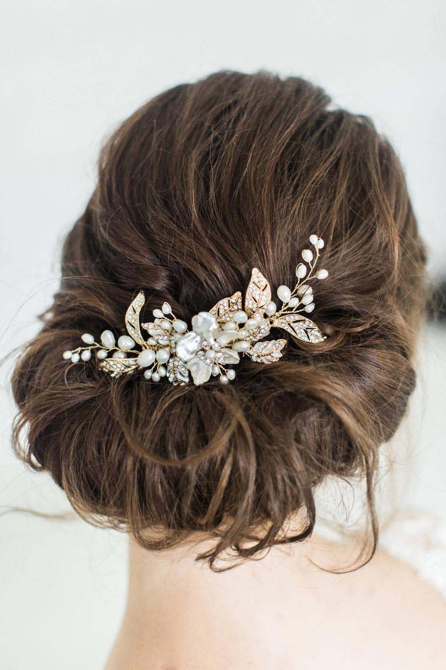 Mariage - Wedding Hair Comb with Pearls, Gold Bridal Hair Comb, Pearl Hair Comb, Gold Wedding Headpiece