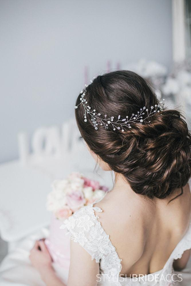 Hochzeit - Wedding Hair Vine Crystal and Pearl, Wedding Hair Accessories, Engagement Hair Jewelry, Prom Hair Vine