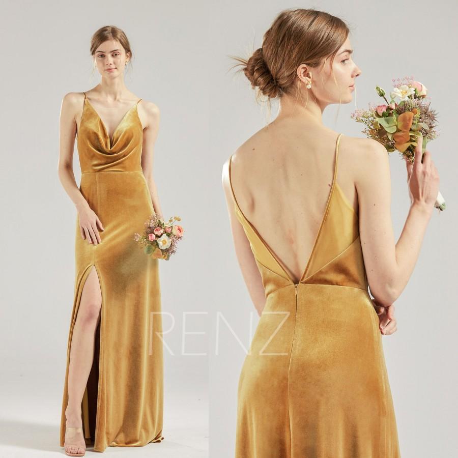 Wedding - Bridesmaid Dress Ginger Velvet Prom Dress Long Slit Formal Dress Cowl Neck Open Back Evening Dress with Spaghetti Straps (HV950)