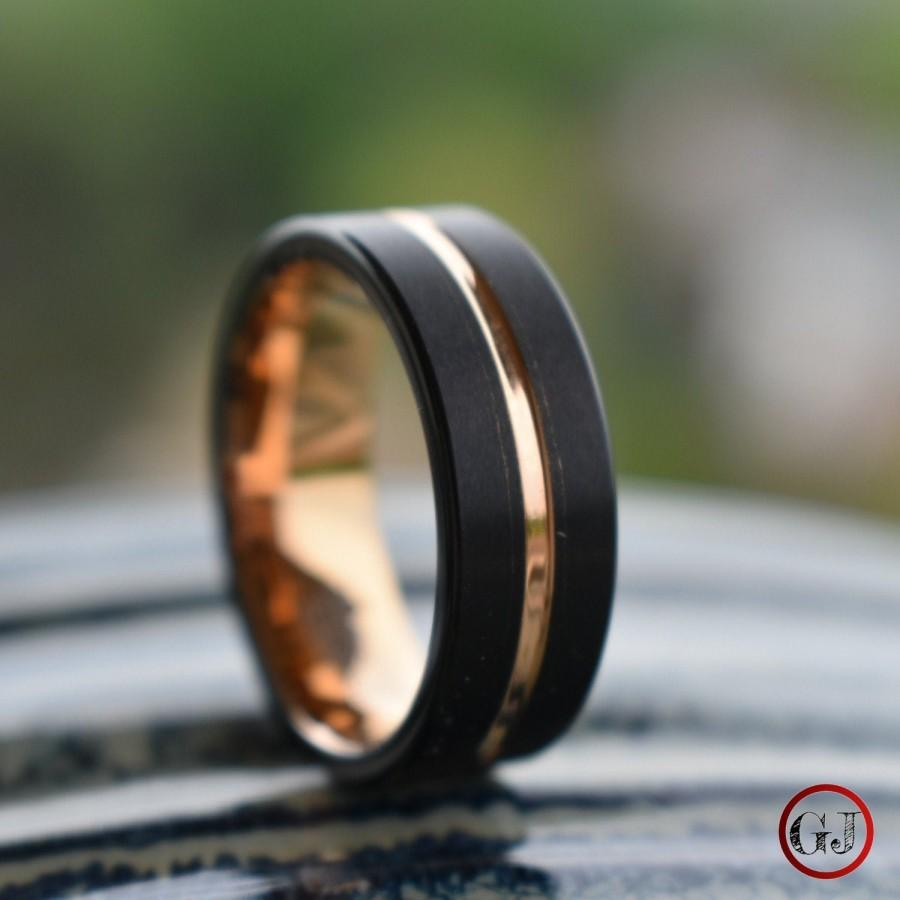 Wedding - Black Tungsten Ring with Rose Gold Center, Mens Ring, Mens Wedding Band
