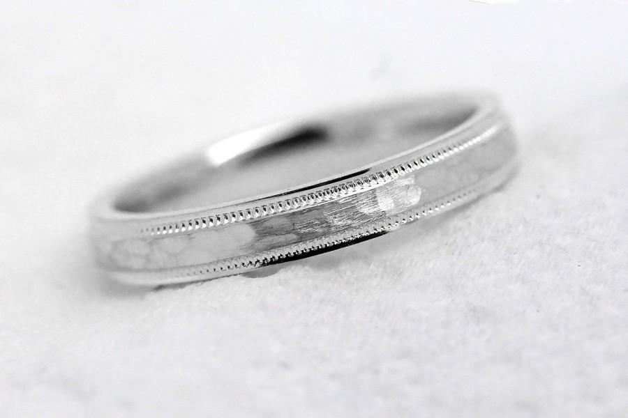 Mariage - 3 mm Solid 925 Sterling Silver Hammered Wedding Band for Women Thin Stacking Wedding Ring 3mm 925 Sterling Silver Wedding Ring, 8008