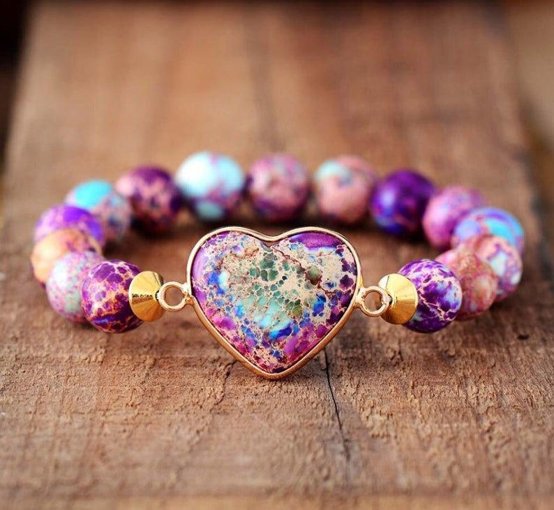 Wedding - Natural Stone Bracelet-Galaxy Sea Sediment Healing Bracelet-Balancing Calming Spiritual Protection Meditation Anxiety Stress Relief Bracelet