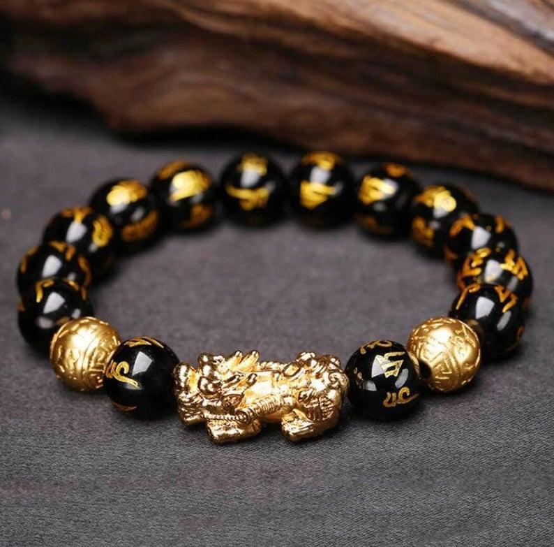Wedding - Feng Shui Pi Xiu Good Luck Bracelet Gift-Wealth and Prosperity Bracelet-Abundance Money Bracelet-Obsidian Stone Healing Protection Bracelet