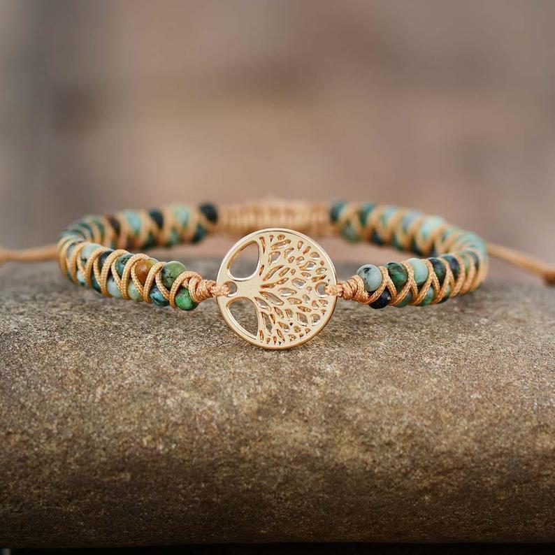 Wedding - Tree Of Life African Jasper Bracelet-Natural Gemstone Healing Energy Protection Bracelet-Calming Reiki Balance Mental Health Bracelet Gift