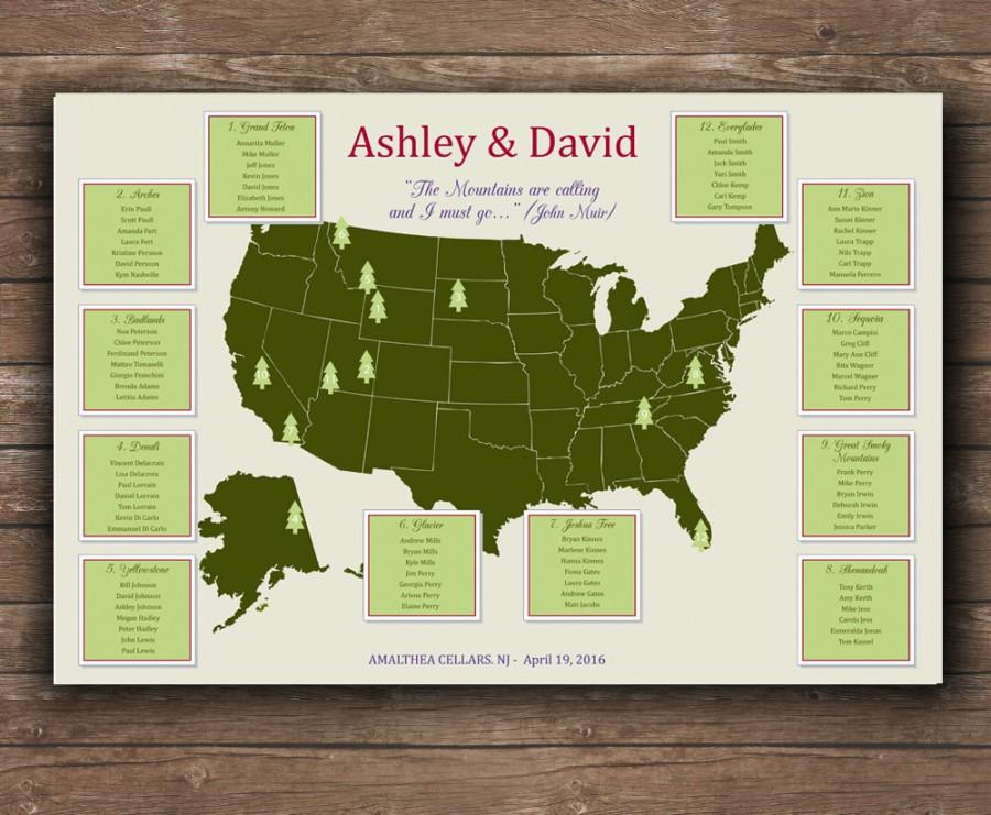 Свадьба - US National Parks Wedding Seating chart - UNIQUE seating plan - Printable file - National Parks Map