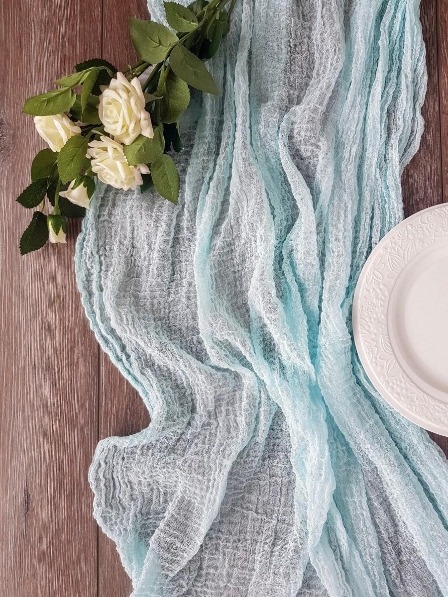 Свадьба - Turquoise table runner, Gauze table runner, table centerpiece, cheesecloth, dusty wedding, watercolor centerpiece