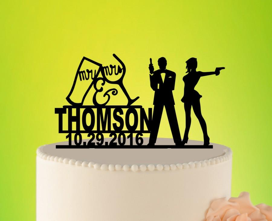 Mariage - JAMES BOND Wedding Cake Topper, 007 Wedding Topper, Wedding Cake Topper with guns, Silhouette, Couple name topper, mr mrs topper L2-02-007