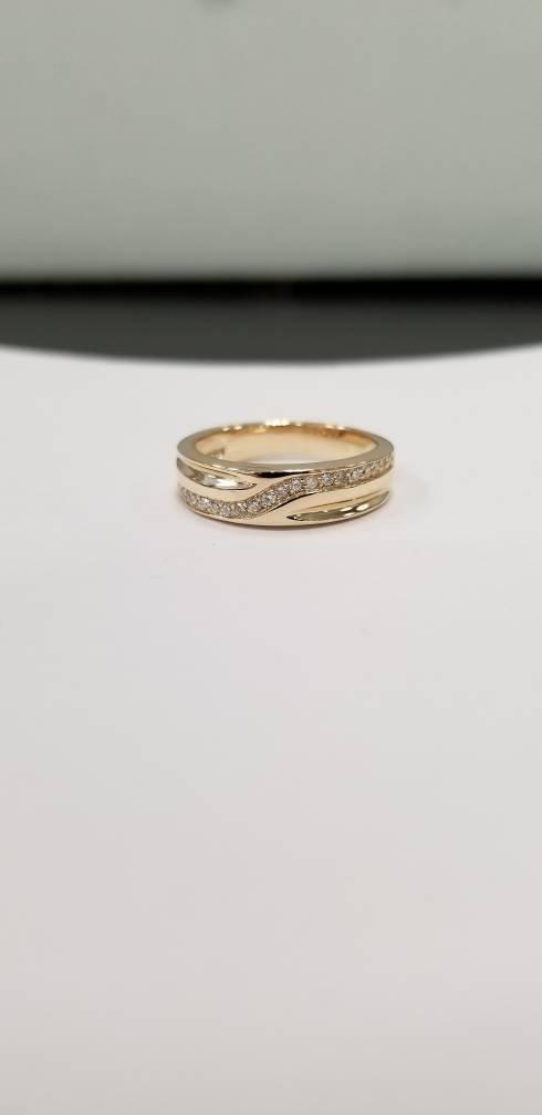 Свадьба - Diamond wedding band/ 14 k yellow gold ladies wedding ring/ diamond ring / diamond anniversary gift /