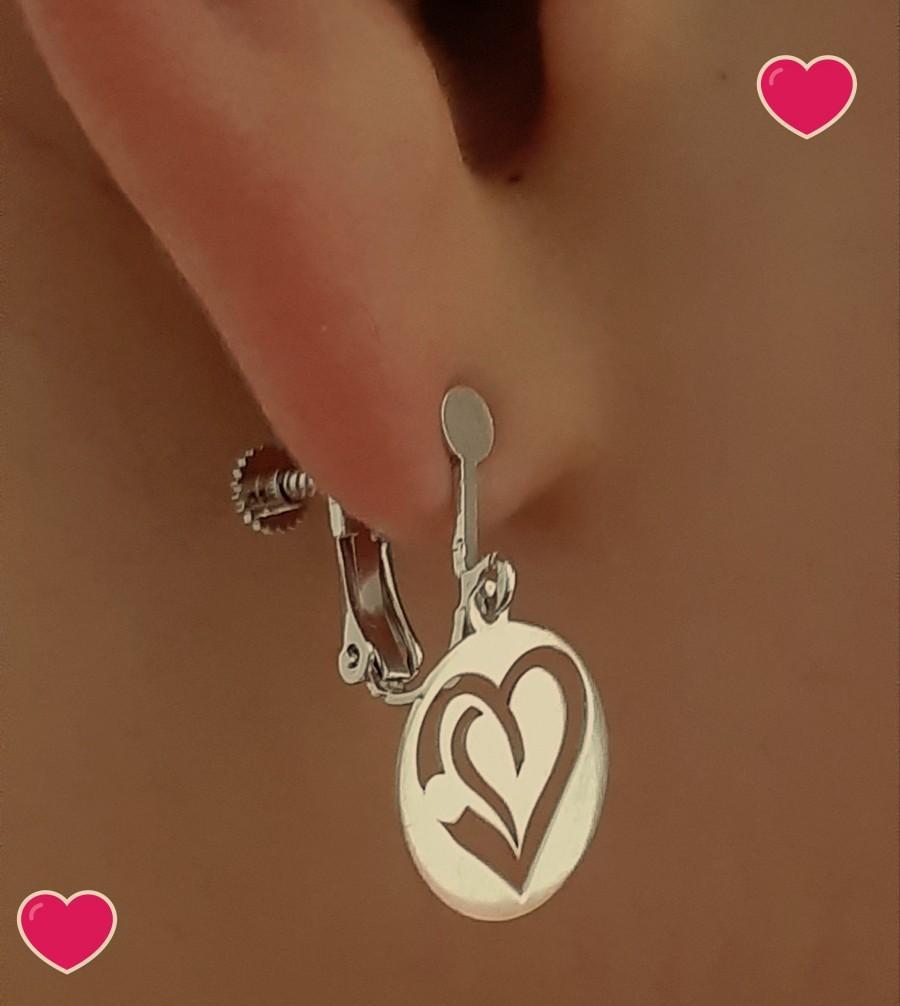 "Свадьба - ""Maryse"" massive silver 925/1000th heart earrings."