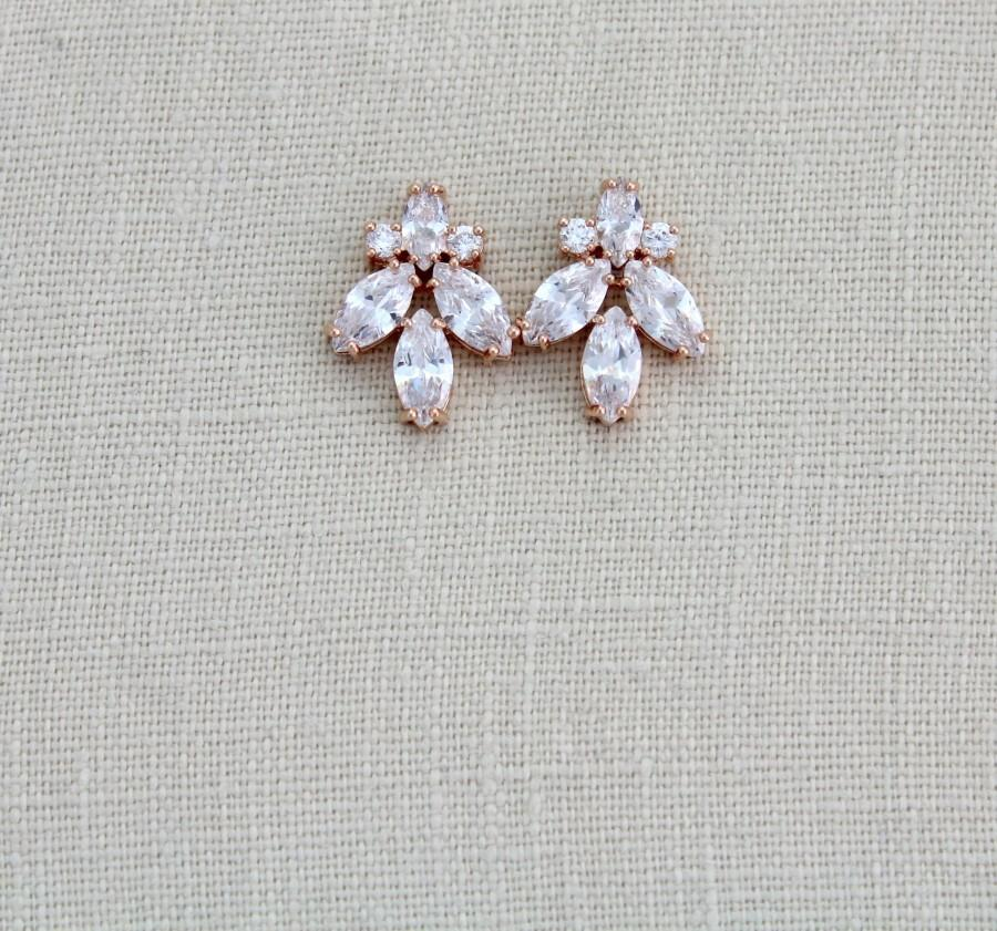 Hochzeit - Rose gold stud earrings Bridal earrings Bridal jewelry Rose gold earrings CZ Stud earrings Bridesmaid earrings Rose gold jewelry DIVINE