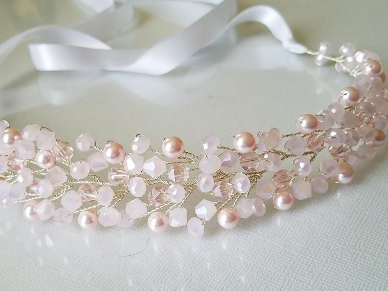 Свадьба - Blush Pink Crystal Hair Vine, Wedding Light Pink Headpiece, Bridal Pink Crystal Pearl Hairpiece, Pink Bridal Wreath, Pink Hair Jewelry