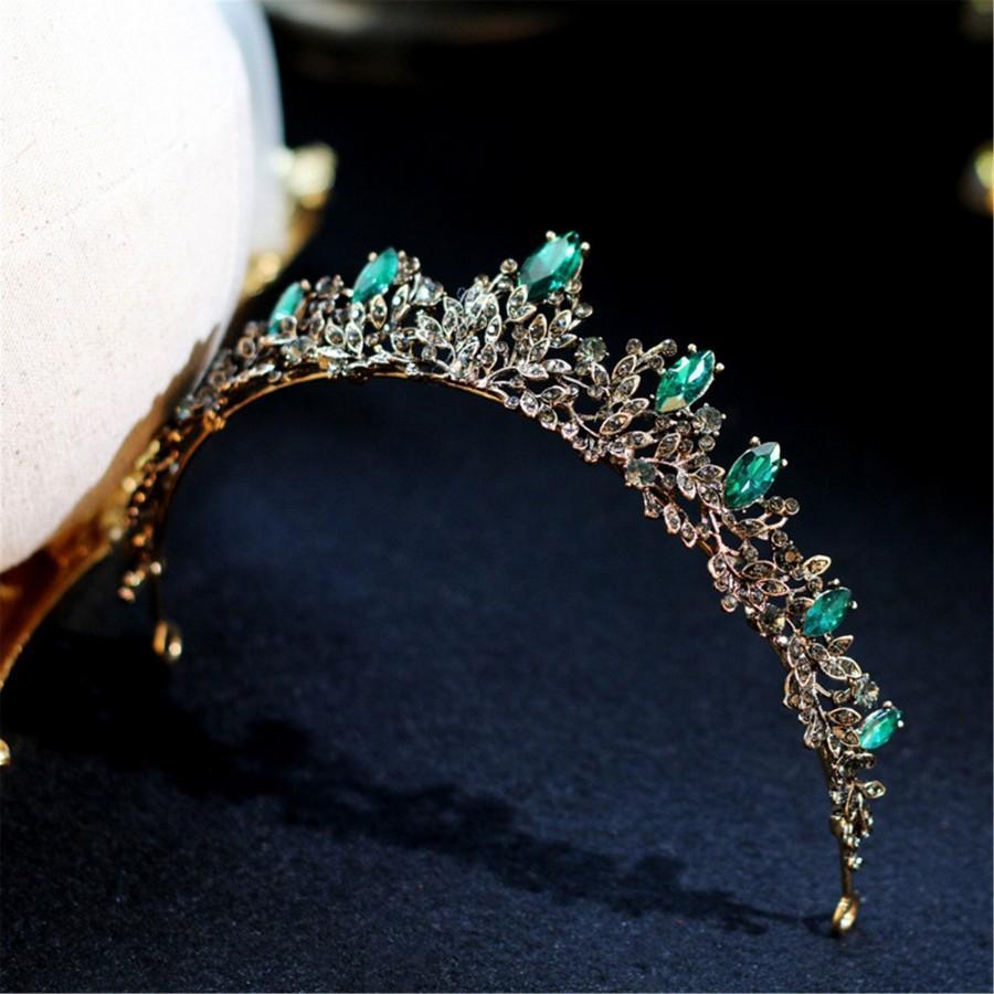 Свадьба - Vintage Bridal Tiara,Vintage Emerald Tiara,Wedding Tiara,Bridal Accessories,Bridal Headpiece,Crystal Tiara,Rhinestone Tiara,Wedding Crown