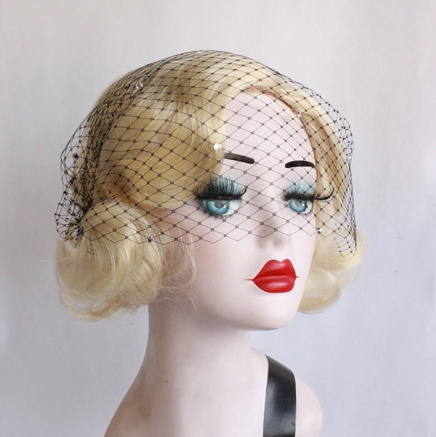 Свадьба - Black Blusher Half Veil with Swarovski Crystals, Bandeau Style, Wedding Accessory, Halloween Bridal, Russian Veiling with Clear Rhinestones