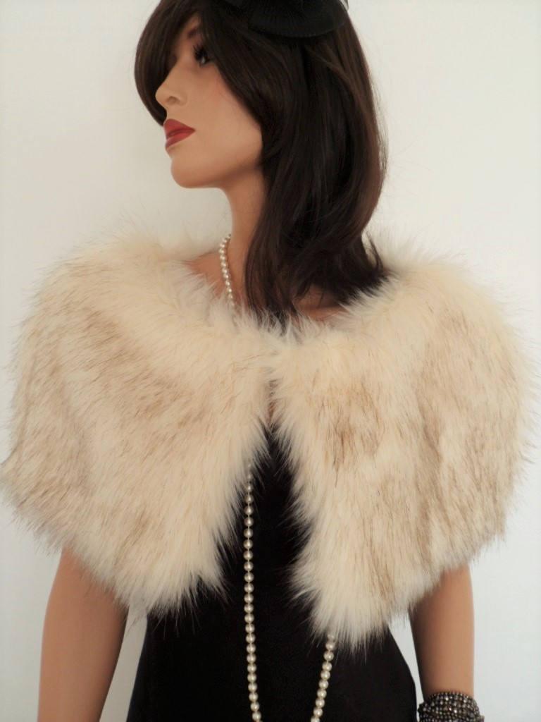 زفاف - champagne fur capelet, cream fur stole, fake fur wrap, shrug, shawl, stole, cream brown fur