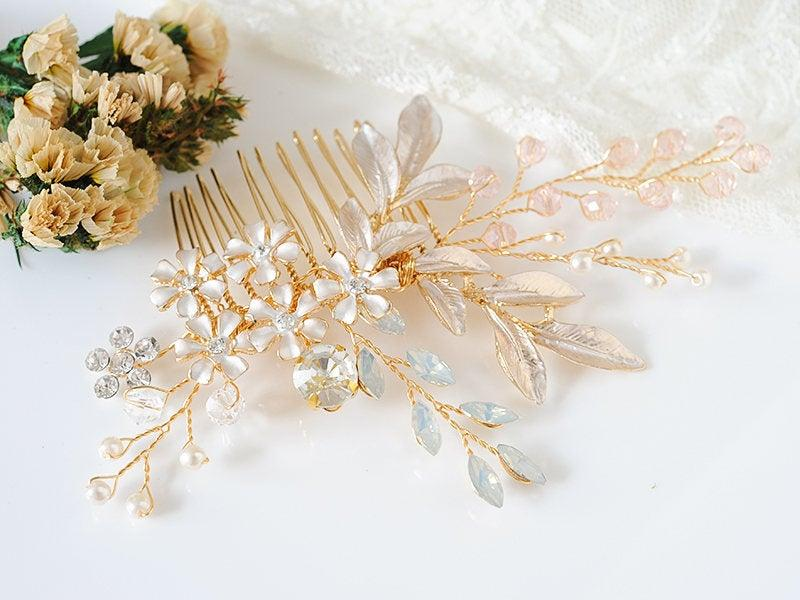 زفاف - Gold Wedding Hair Comb, Bridal Hair Comb, Flower Leaf Hair Vine, Pink Opal Crystal Hair Accessories, Boho Headpiece, Hair Jewelry, CYRA