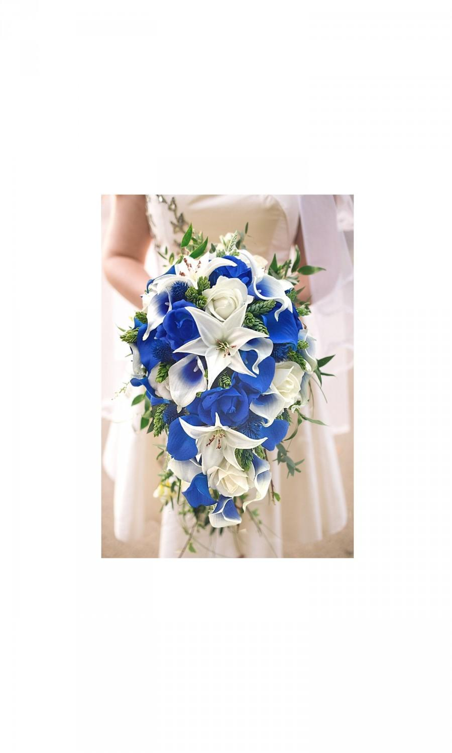 Hochzeit - Real Touch Royal Blue Picasso Calla Lilies Royal Blue Ivory Roses White Tiger Lilies, Eucalyptus Hops Ruscus Thistle Cascade Bridal Bouquet