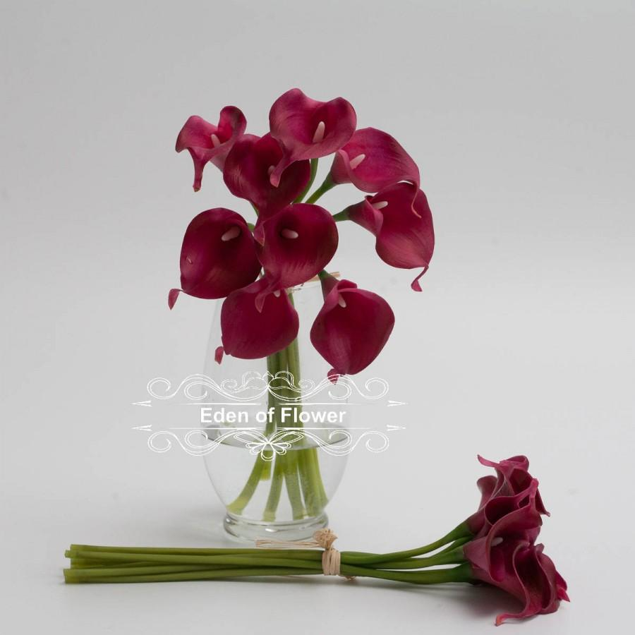 Wedding - 10 Pcs Wine Red Calla Lilies Real Touch Flowers for Bridal Bouquets, Wedding Centerpieces, Vase Arrangement, Home Decoration