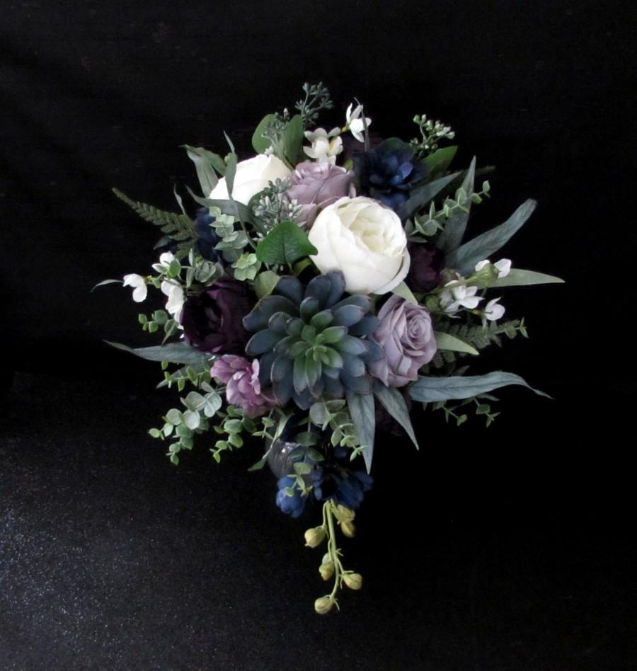 زفاف - Dusty Purple Cascading Succulent Bridal Floral