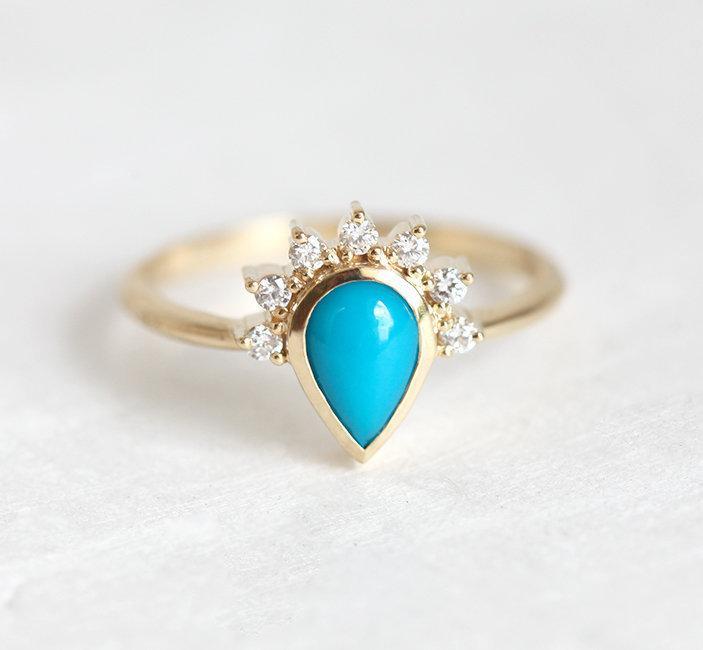 Свадьба - Elegant Turquoise Ring with Diamond Crown, Half Halo Diamond Engagement Ring, Pear Engagement 14k 18k