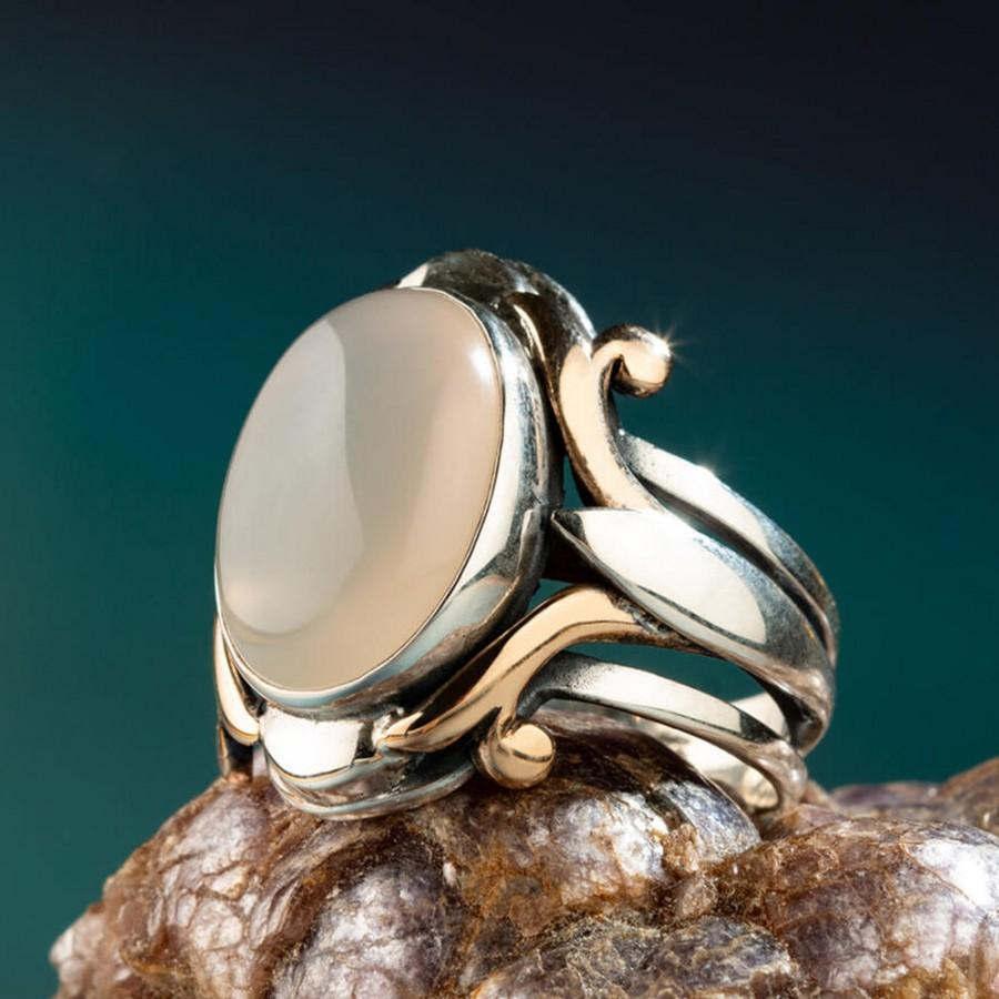 Mariage - Unique Mens Ring,Handmade Silver White Moss Agate Ring,Dainty Sterling Silver Ring,Cool Mens Ring,Engraved Mens Ring,For Him, Nur-4814