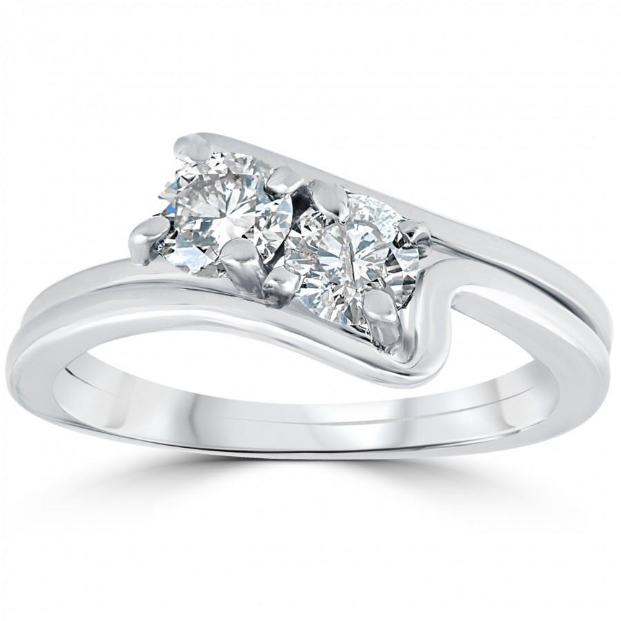 Свадьба - Engagement Ring Diamond 3/4CT Two Stone Diamond Forever Us Engagement Ring Set 10K White Gold (I/J, I1-I2)