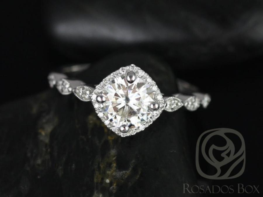 زفاف - Round Forever One MoissaniteDiamond Kite Halo WITH Milgrain Engagement Ring, 14kt Solid White Gold, Katya 7mm, Rosados Box