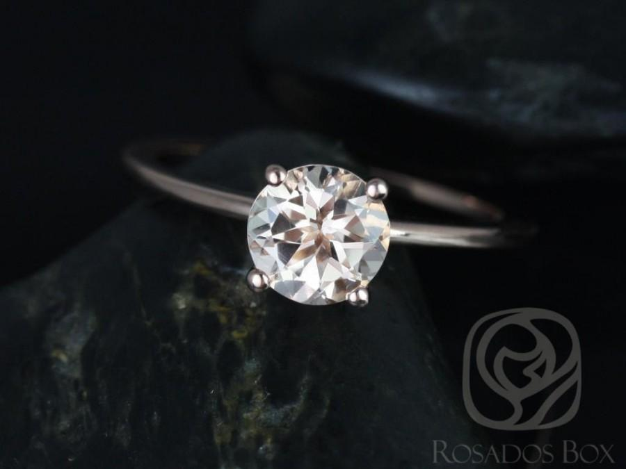 Hochzeit - Skinny Alberta 7mm 14kt Rose Gold Round Morganite Dainty Round Solitaire Engagement Ring,Rosados Box