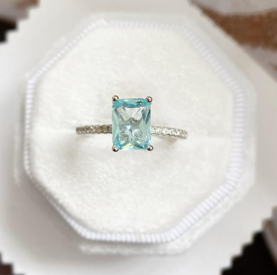 زفاف - Aquamarine Engagement Ring, Anniversary Ring, Wedding Promise Ring, Bridal Jewelry, Birthday Gift for Women, Eternity Band, 100% 925 Silver