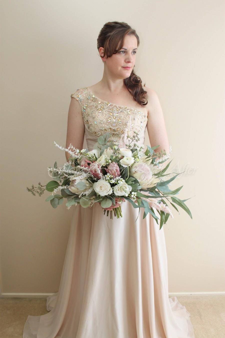 Wedding - Isobel Bridal Bouquet, wide spray posy, dusty pink protea bouquet, ivory Silk Wedding Posy, Australian Native bouquet, eucalyptus bouquet