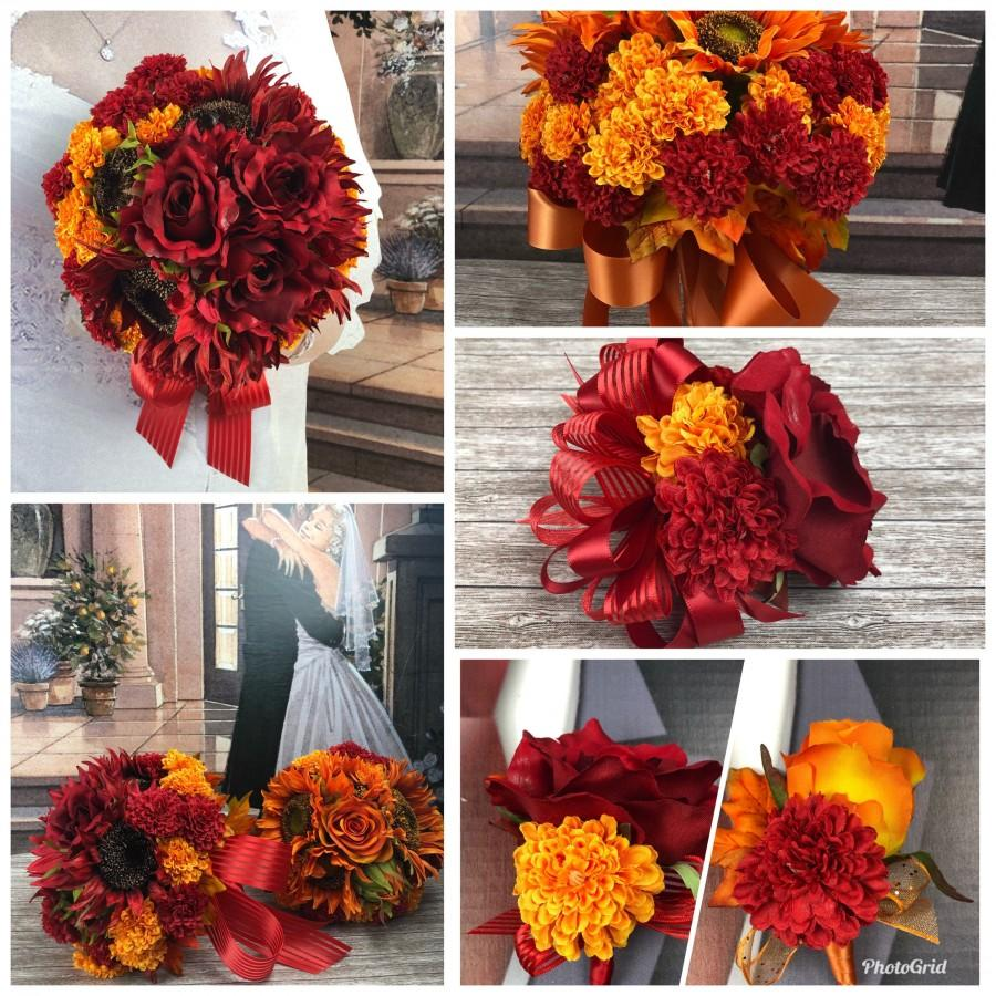 Wedding - Fall in Love Artificial Sunflower Bridal Bouquet Set, Fall Sunflower Bridal Flowers, Orange or Red Sunflower Wedding Flowers