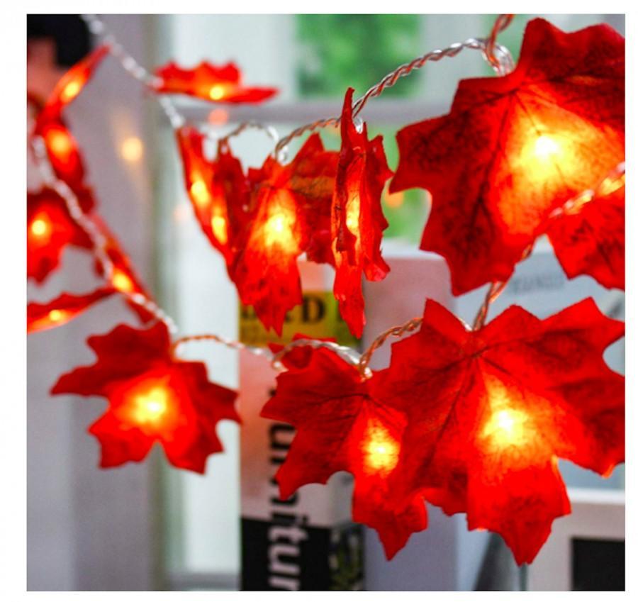 زفاف - Autumn Garland Fall Garland Fall Maple Leaf Garland Maple Leaves Fall Lights Maple Leaf Lighted Garland Thanksgiving Decor  Halloween Table