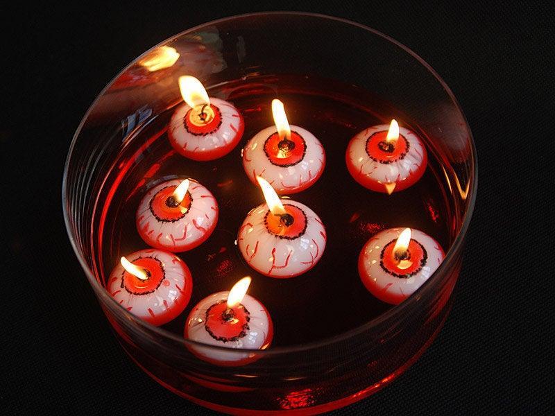 Hochzeit - 3 Eyeball Floating Halloween Candles, Halloween Party Decorations, Candle Decorations, Table Candles, Party Decorations, Halloween Decor