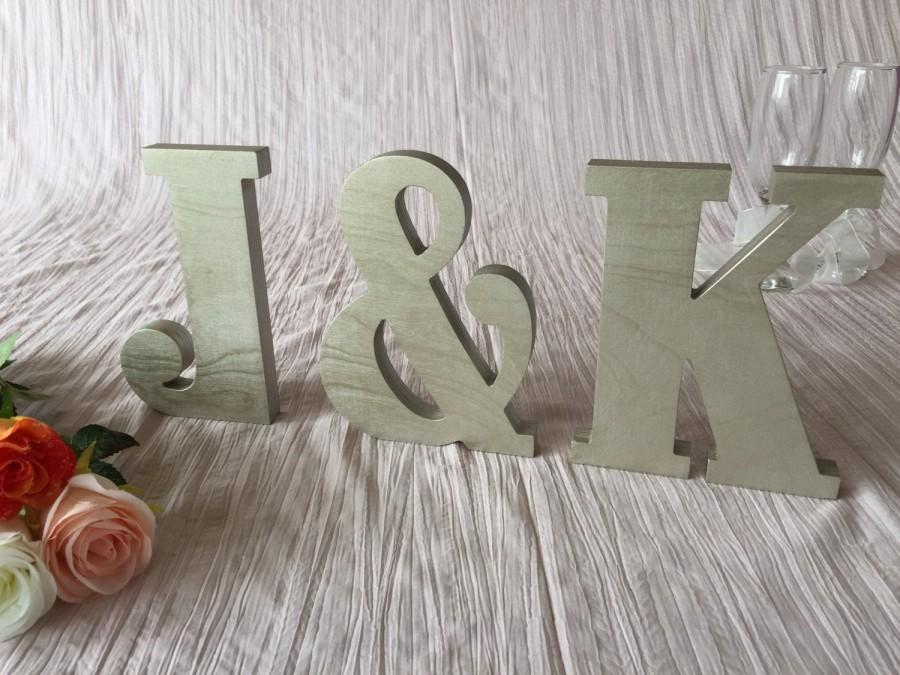Свадьба - Wooden initials.Letters initials. Wedding top table sign - initials. Wedding. Gold, silver, champagne, glitter, any color.