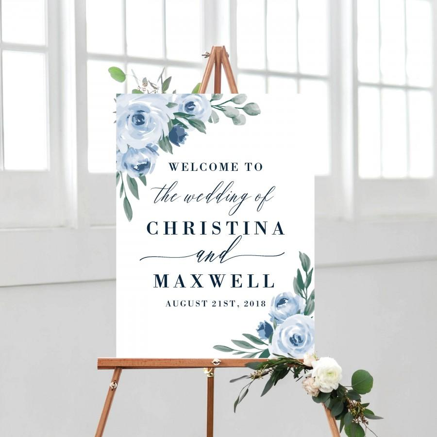 Mariage - Dusty Blue Wedding Welcome Sign Template, Printable Welcome Sign, Wedding Welcome Signs, Instant Download, Welcome Signs, Templett, 118