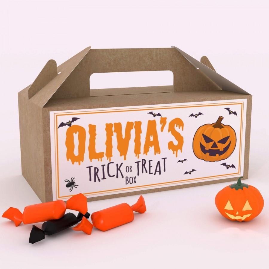 زفاف - Personalised Halloween Trick or Treat Fun Party Gift Favour Box Party Candy Bag