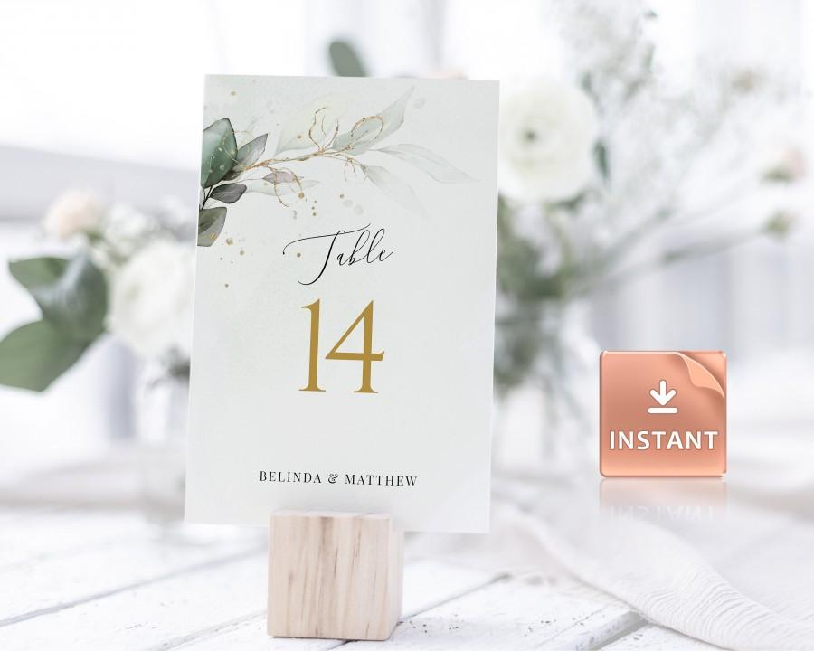 """Hochzeit - CLEO - Greenery Wedding Table Numbers, FAUX Gold Watercolor Eucalyptus Leaves, 2 Sizes 5x7"""" and 4x6"""", download, Editable Boho Template"""