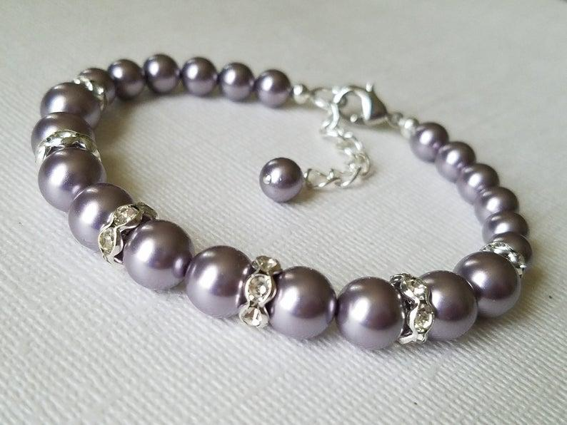 Свадьба - Light Purple Pearl Bracelet, Swarovski Mauve Pearl Silver Wedding Bracelet Wisteria Purple Wedding Bracelet Purple Wedding Jewelry