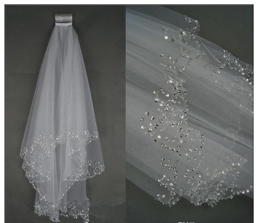 Wedding - White /Ivory Bridal Veil Elbow length  beaded veil, simple bridal veil, short veil with sequin beaded edge
