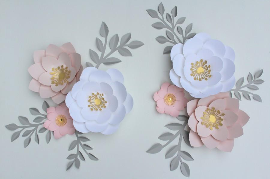 Свадьба - 6 paper flowers set nursery paper flowers, large paper flowers, nursery decor, nursery wall decor, paper flower decor