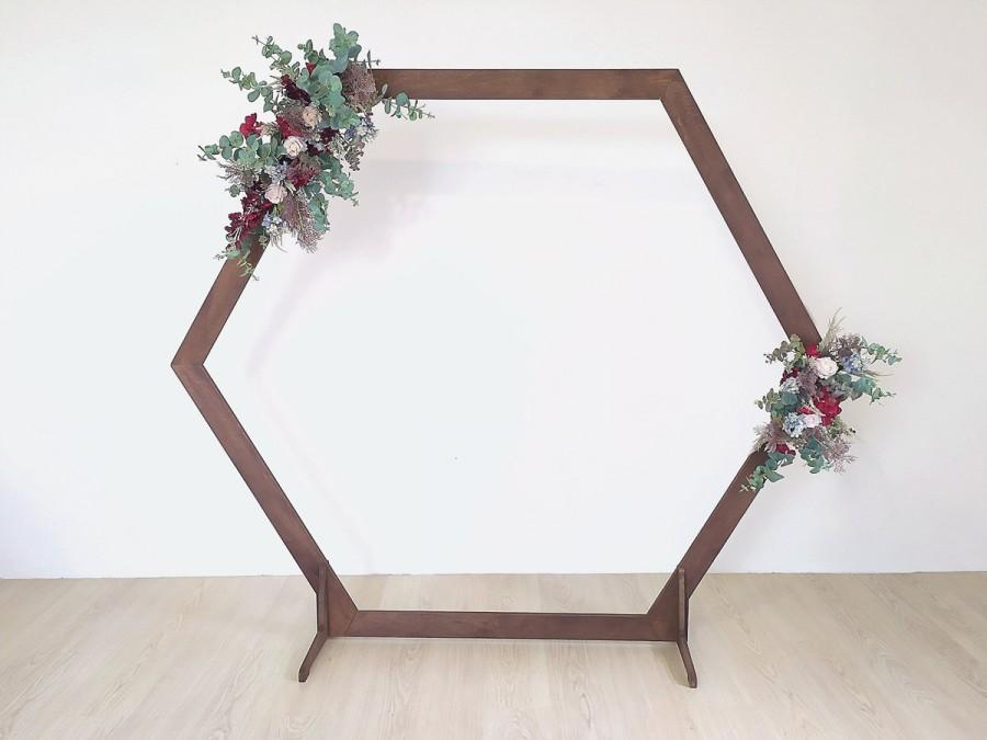 Mariage - Hexagonal wedding arch, wooden arch, wedding backdrop, outdoor ceremony decoration, party backdrop