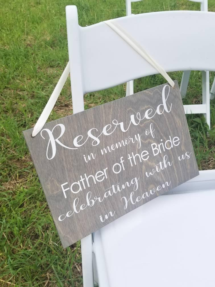 زفاف - Reserved In Memory Of Sign, Wedding Decor, Reserved Sign